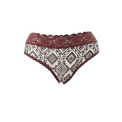 Plus Size Floral Print Lace Cheeky Panties