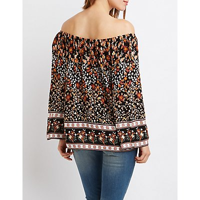 Printed Tie-Front Off-The-Shoulder Top