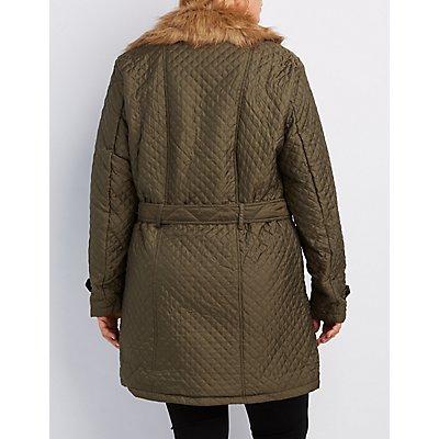 Plus Size Faux Fur-Trim Quilted Moto Jacket