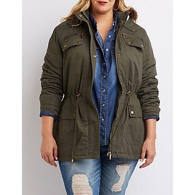 Plus Size Faux Fur-Trim Anorak Jacket