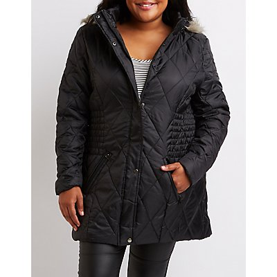 Plus Size Quilted Puffer Jacket
