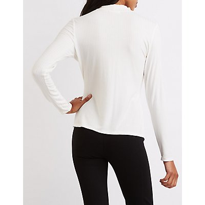 Ribbed Mock Neck Cut-Out Top