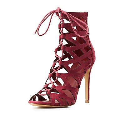 Laser Cut Lace-Up Dress Sandals