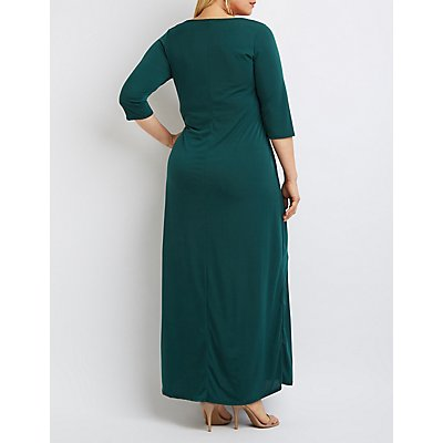Plus Size Strappy Slit Maxi Dress