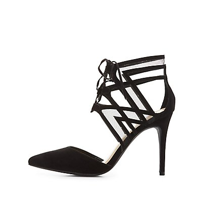Mesh-Trim Pointed Toe Lace-Up Heels