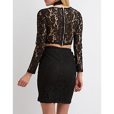 Lace T-Front Crop Top