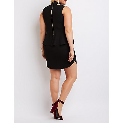 Plus Size Caged Mock Neck Peplum Dress