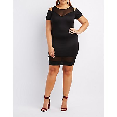 Plus Size Mesh-Trim Cold Shoulder Dress