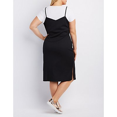 Plus Size Ribbed Zip-Front Layered Dress
