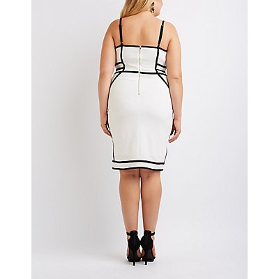 Plus Size Two-Tone Bustier Bodycon Dress