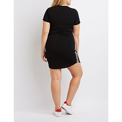 Plus Size Varsity Stripe Bandage Dress