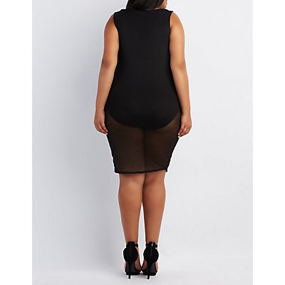 Plus Size Strappy Mesh Bodycon Dress