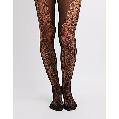Floral-Trim Fishnet Tights