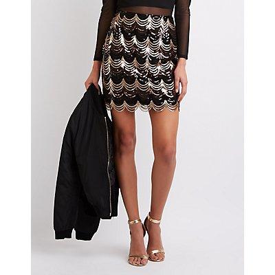Scalloped Sequin Pencil Skirt