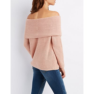 Shaker Stitch Cowl Neck Sweater