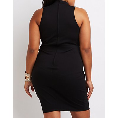 Plus Size Mock Neck Cut-Out Bodycon Dress