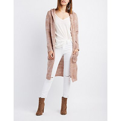 Marled Hooded Duster Cardigan