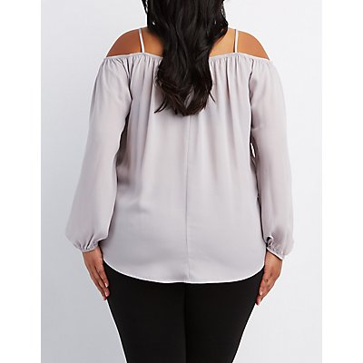 Plus Size Lattice Cold Shoulder Top