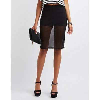 Sheer Mesh Pencil Skirt