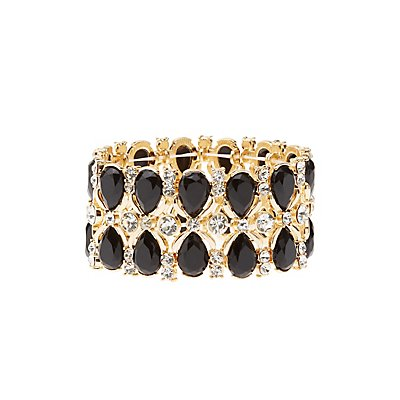 Plus Size Embellished Stretch Cuff Bracelet