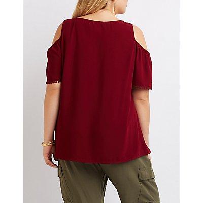 Plus Size Tassel-Tie Cold Shoulder Top