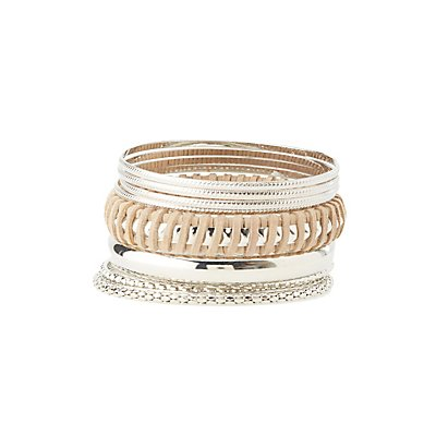 Plus Size Metal Bangle Bracelets - 10 Pack