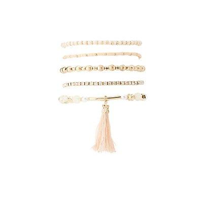 Plus Size Beaded Layering Bracelets - 5 Pack