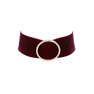 Velvet Circle Embellished Choker Necklace