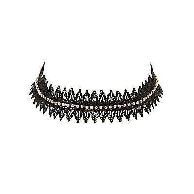 Plus Size Embellished Crochet Choker Necklace