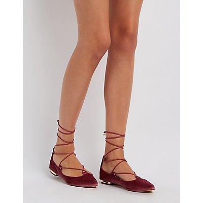 Velvet Lace-Up Gold-Heel Flats