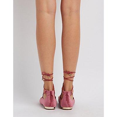 Velvet Lace-Up Gold-Heel Flats | Charlotte Russe
