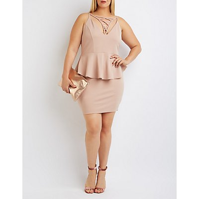 Plus Size Caged Lattice Peplum Dress