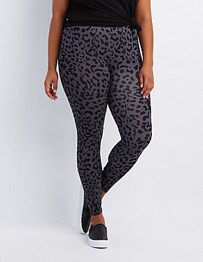 Plus Size Leopard Stretch Cotton Leggings