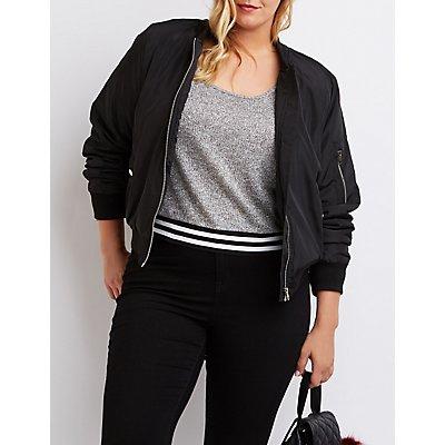 Plus Size Striped Waistband Sweater