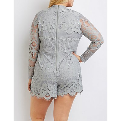 Plus Size Lace Cut-Out Mock Neck Romper