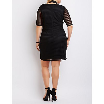 Plus Size Shadow Stripe T-Strap Bodycon Dress