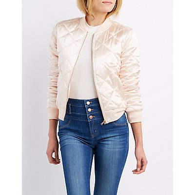 Quilted Satin Bomber Jacket