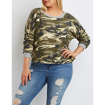 Plus Size Camo Cropped French Terry Tee