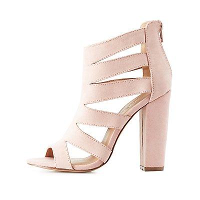 Faux Suede Caged Dress Sandals