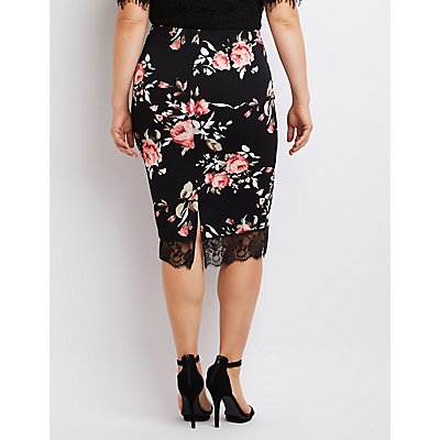Plus Size Floral Lace-Hem Pencil Skirt