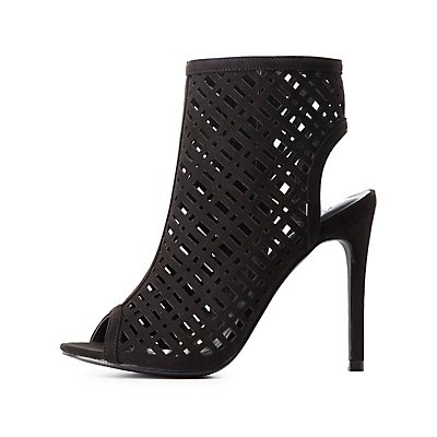 Laser Cut Peep Toe Dress Sandals