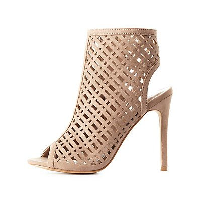 Laser Cut Peep Toe Dress Sandals