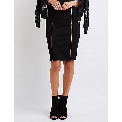 Zipper-Trim Pencil Skirt