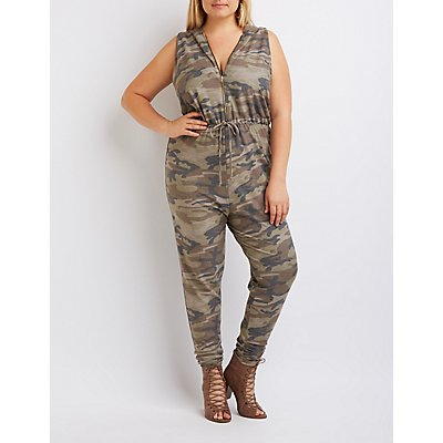 Plus Size Camo Hooded Jumpsuit