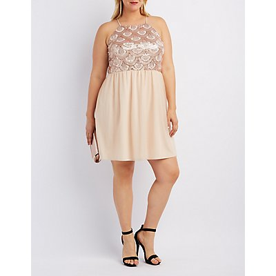 Plus Size Sequin & Tulle Skater Dress
