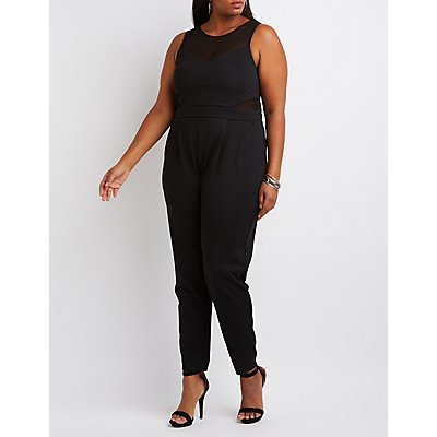 Plus Size Mesh-Trim Jumpsuit