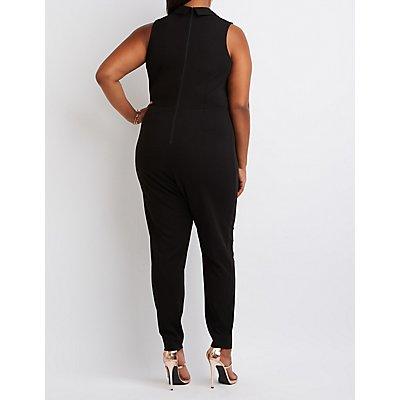 Plus Size Tuxedo Jumpsuit