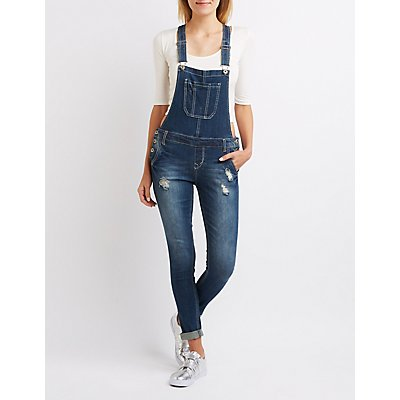 Distressed Denim Overalls