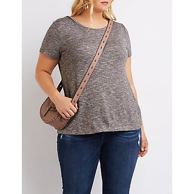 Plus Size Marled Crew Neck Tee