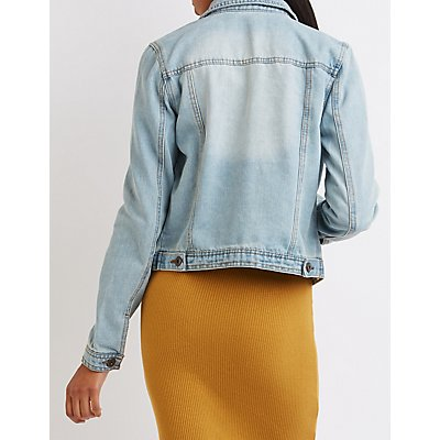 Distressed Light Wash Denim Jacket